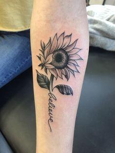 Sunflower tattoo, with believe as a stem. Great for a first tattoo idea . - Sunflower tattoo, with believe as a stem. Great for a first tattoo idea. This … – Sunflower tat - Sunflower Tattoo Shoulder, Sunflower Tattoo Small, Sunflower Tattoos, Sunflower Tattoo Design, Sunflower Tattoo Meaning, Time Tattoos, Body Art Tattoos, Hot Tattoos, Tatoos