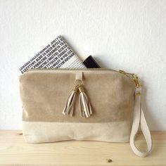 Natural leather purse / 100% repurposed beige leather / mini clutch bag / make up bag. $52.00, via Etsy.