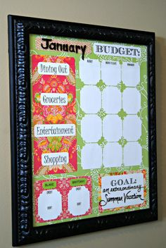Budget Board from Hotel Art. Take ownership of your budget by not hiding it in a desk drawer. This way you are reminded of where you are spending your money and how much