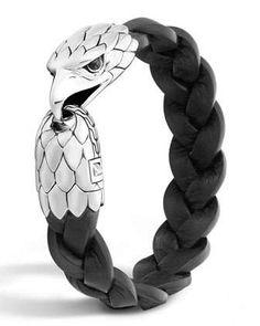Men\'s Silver Eagle Head Leather Bracelet by John Hardy at Neiman Marcus.