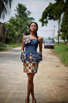 demin ankara ~African fashion, Ankara, kitenge, African women dresses, African prints, African men's fashion, Nigerian style, Ghanaian fashion ~DKK