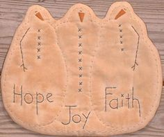 Primitive Stitchery Candle Mat Snowmen Joy Hope Faith