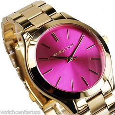 1bf3b738b69e Michael Kors Women s Slim Runway Gold Tone Pink Dial Watch MK3264 New Mk  Watch