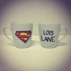 Superman Couple Mugs by KitchenPaintedPretty on Etsy, $22.00