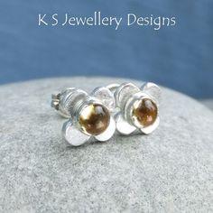 Citrine Rustic Flowers - Sterling Silver Stud Earrings - Gemstone Flower Studs £34.00