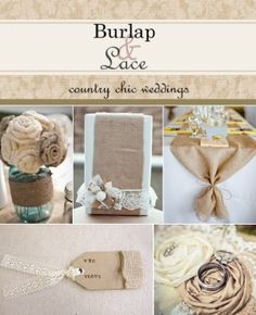 ivory and tan silk shantung roses Burlap And Lace Wedding by TinyCarmen