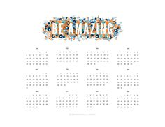 """Love the """"Be Amazing"""" theme for this year! 2015 Year at a Glance Calendars   Red Stamp"""