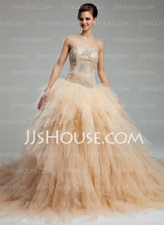 Wedding Dresses - - Ball-Gown Sweetheart Chapel Train Satin Tulle Wedding Dresses With Ruffle Lace Beadwork (002012565) http://jjshouse.com/Ball-Gown-Sweetheart-Chapel-Train-Satin-Tulle-Wedding-Dresses-With-Ruffle-Lace-Beadwork-002012565-g12565