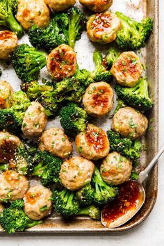 Honey-sweetened homemade teriyaki sauce drizzled over tender, garlicky chicken meatballs and broccoli make for a freezer meal that deliciously redefines the whole genre. Teriyaki Chicken, Baked Chicken Meatballs, How To Cook Meatballs, Best Freezer Meals, Homemade Teriyaki Sauce, Chicken Recipes, Lasagna Recipes, Cod Recipes, Cabbage Recipes