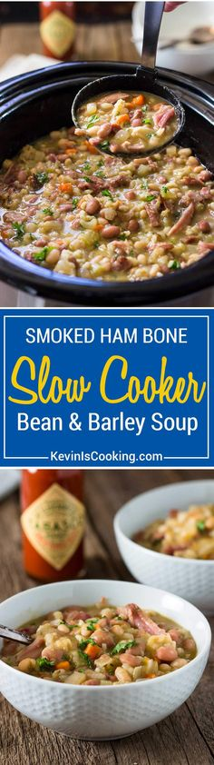 There's nothing like a Slow Cooker Ham Bone Bean Soup simmering away. Smoked ham bone with beans and barley, vegetables and Tabasco for that special touch. This really feeds a crowd!