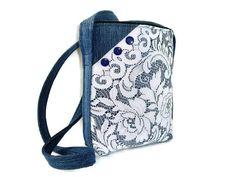Denim and Lace Crossbody Bag Upcycled Denim by SuzqDunaginDesigns, $50.00