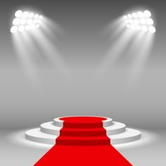Stage podium illuminated scene spotlight party award ceremony with red carpet vector illustration PNG and Vector Red Carpet Background, Red And Black Background, Light Background Images, Studio Background Images, Wedding Background, Lights Background, Fond Pop Art, Adobe Illustrator, Christmas Tree Background