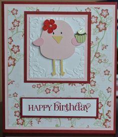 cricut 3 birds on parade birthday card.