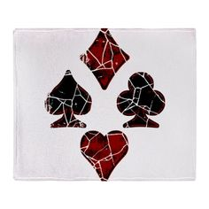 Cracked Playing Card Suits Throw Blanket on CafePress.com