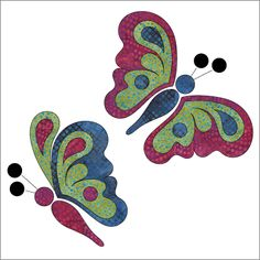 Butterfly Bliss - Set Laser-cut fabric applique elements backed with Steam-A-Seam Set of Blocks from to 2014 Patricia E. Applique Quilt Patterns, Quilting Templates, Applique Templates, Hand Applique, Machine Applique, Applique Designs, Embroidery Applique, Quilting Projects, Quilting Designs