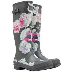Women's Joules Printed Wellies (£37) ❤ liked on Polyvore featuring shoes, boots, strappy shoes, joules boots, buckle strap boots, rubber boots and waterproof rain boots