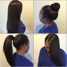 "*WARNING: If your sew-in does NOT look this natural, then you should absolutely come see me! My client is rocking one of my signature PERFECT PONY sew-in hair weaves, allowing her the versatility of being able to wear her hair in a sleek ponytail, high bun, or hanging down! To create this look, we used two bundles of 14/16"" MALAYSIAN Relaxed Natural, available online at www.naturalgirlhair.com."