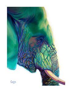 Elephant - Blue Mountain - Original Elephant PRINT- By Corina St. Martin