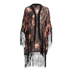Kukallinen kimono Musta Kimono Top, Inspiration, Outfits, Tops, Women, Fashion, Damask, Biblical Inspiration, Moda