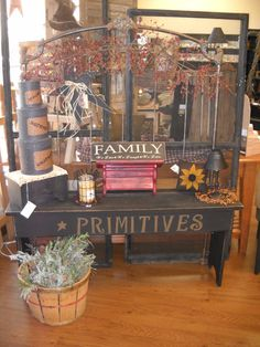 Love the primitives stool!