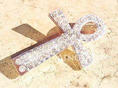 Ankh Connector Silver Tone Rhinestone Connector Ankh by Aingealism, $2.25