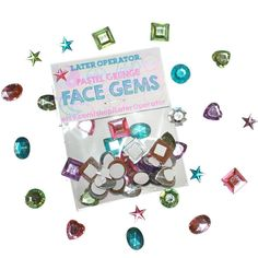 Pastel Grunge Kawaii Face Gems Set of 20- Face Jewels Bindi Kawaii... ($2.50) ❤ liked on Polyvore featuring fillers, accessories and makeup