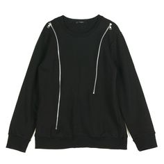 Rememberclick / Zipper Accents Black Pullover Unisex T Detail Korea Style #Rememberclick #BasicTee