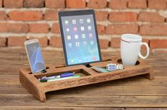 Wooden Desk Organizer, Office organizer, Phone station, Solid wood iPhone holder, Desk accessories, Office storage, Gift for him
