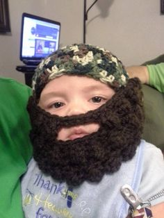 Duck Dynasty camouflauge beanie hat with removable beard and mustache baby toddler child  hunting beanie hat on Etsy, $25.00