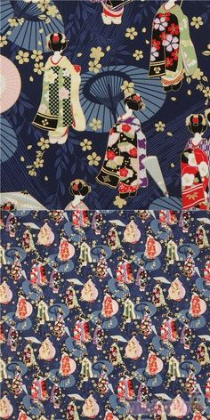 "dark blue cotton sheeting fabric with geishas, sakura flower etc., with metallic gold embellishment, Material: 100% cotton, Pattern Repeat: ca. 60.5cm (23.8"") #Cotton #People #JapaneseFabrics"