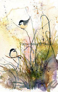 Summer Breeze (Chickadees) by Brian D. Payne