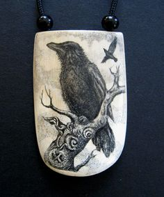 Scrimshaw Tools | RESERVED Original scrimshaw Oden's Ravens mammoth ivory pendant