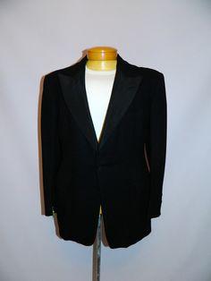 vintage 1960s black wool blazer TUXEDO jacket by RetroHommeVintage