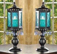 Like the deepest depths of the ocean, the azure blues of this candle lamp cast an enchanting aura of peace and tranquility set of 2 The blue of the desert sky brings brightness to the night, lending splendor to even the quietest evening.