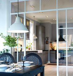 Windows. Gray kitchen.