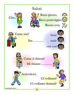 greetings in italian. learn italian, aprender italiano. saludos , greetings.