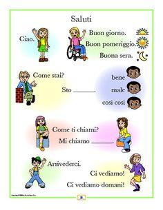 greetings in italian. learn italian, aprender italiano. saludos , greetings.