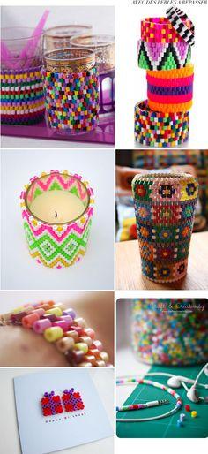 créations bracelets et pots avec perles Hama
