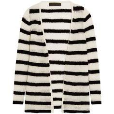 The Elder Statesman Mr Simple striped cashmere cardigan ($1,020) ❤ liked on Polyvore featuring tops, cardigans, black, stripe cardigan, breton stripe top, striped top, striped cardigan and breton top