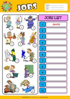 Jobs Write the Words ESL Vocabulary Worksheet