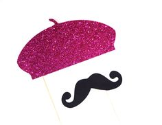 Photo Booth Props - HOT PINK GLITTER Beret and Mustache Set - Set of 2 Props - Birthdays, Weddings, Parties - Photobooth Props. $11.00, via Etsy.