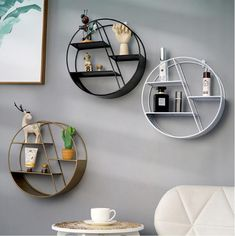 Description: Nordic Style Metal Decorative Shelf round Hexagon storage holder rack Shelves Home wall Decoration Potted ornament holder rack Specifications: Style: Modern Material: iron Installation: Wall Mounted Weight: Packing list: Hanging storage rack Decorating Shelves, Geometric Shelves, Shelves, Wall Shelves Living Room, Nordic Style Living Room, Creative Wall Storage, Shelf Decor, Wall Hanging Storage, Hanging Storage