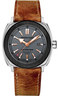 JeanRichard Terrascope Grey Matt Steel and Black DLC Steel Fancy Watches, Latest Watches, Pre Owned Watches, Watches For Men, Men's Watches, Jean Richard, Girard Perregaux, Omega Watch, Mens Fashion