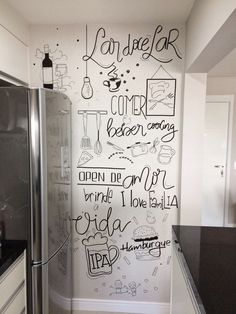 Interior Decorating Plans for your Home Bar Chalkboard Art Kitchen, Building A Home Bar, Small Bars For Home, Home Bar Areas, Bar A Vin, Home Pub, Chalk Wall, Chalk Lettering, Calming Colors