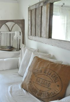 burlap look/grain sack pillow