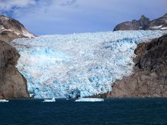Half a dozen mountain glaciers calve into the north side of Prins Christian Sound, Greenland.