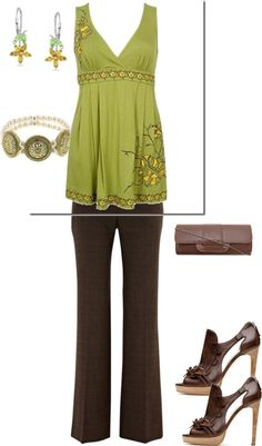 """green/brown/ yellow"" by yiannab on Polyvore  ♣  12.8.23"