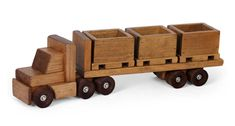 HANDMADE WOOD SKID TRUCK - complete with 3 Crates Pallets - Amish Heirloom Toy