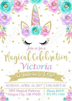 Unicorn Invitation, unicorn party, Magical unicorn invitation, unicorn birthday invitation, 1st birthday, girls first birthday, PRINTABLE Youll receive the UNICORN Birthday Invitation #6 ONLY ====►Invitation◀️==== ( you pick format) ►1. 5x7 or 4x6 jpeg for printing on photo paper-or