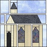 Quilters Cache Free Paper pieced quilt block - Church